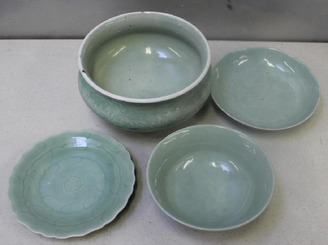 Grouping Of Enamel Decorated and Plain Celadon - 5