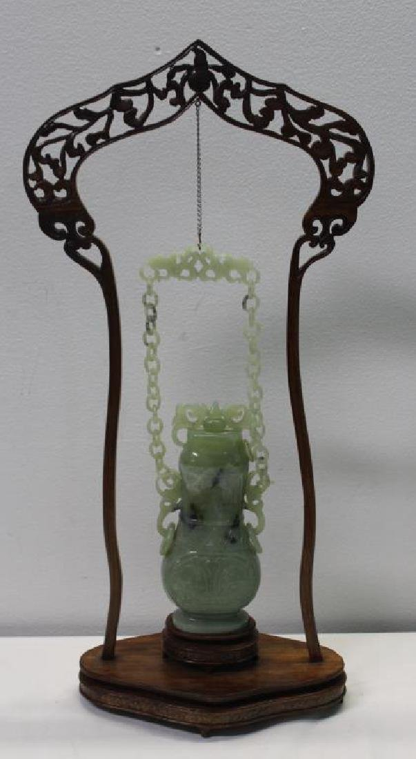 Hanging Jade Vase With Cover and Stand .