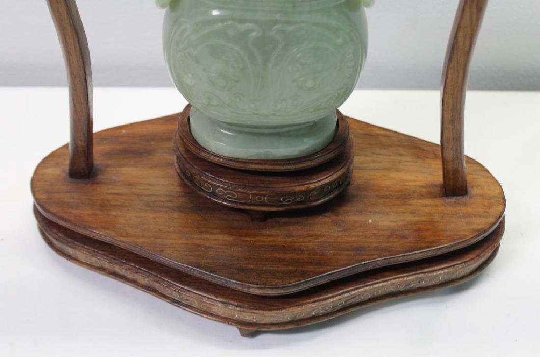 Hanging Jade Vase With Cover and Stand . - 3