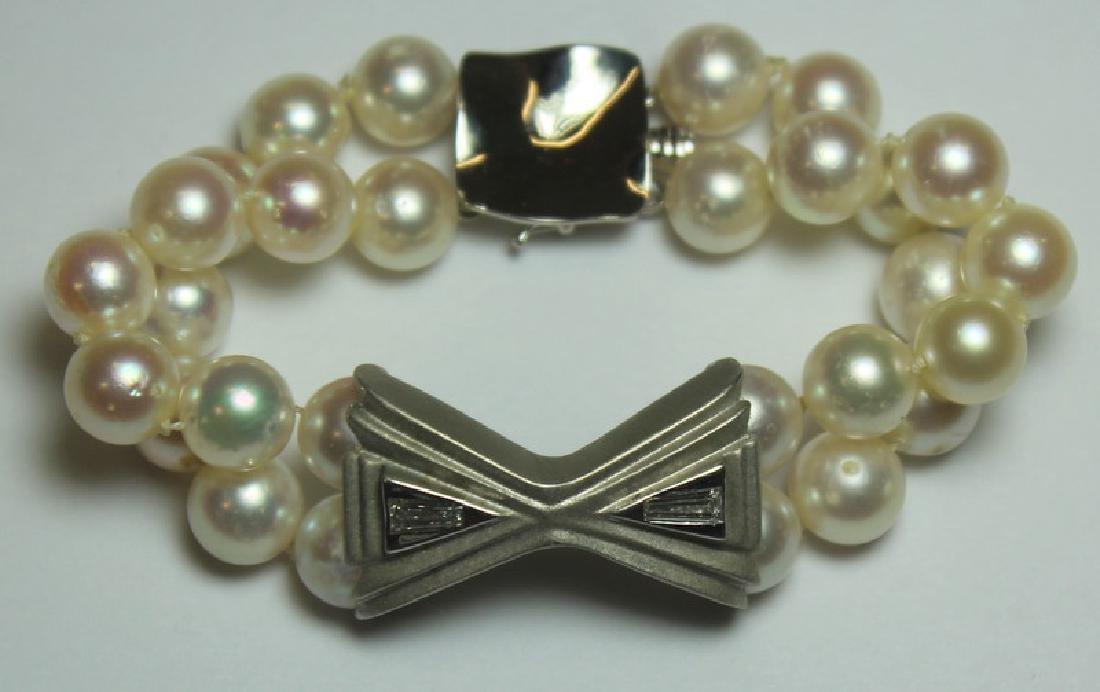 JEWELRY. Pearl, Diamond and 14kt Gold Bracelet.