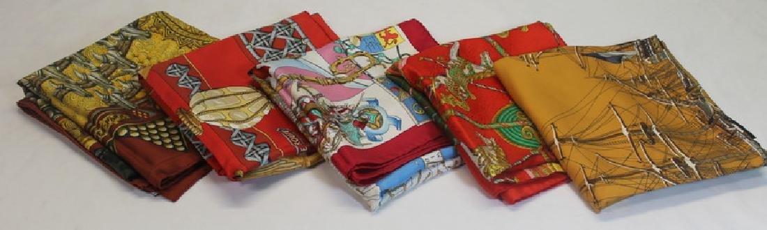 Grouping of (4) Hermes Silk Scarves.