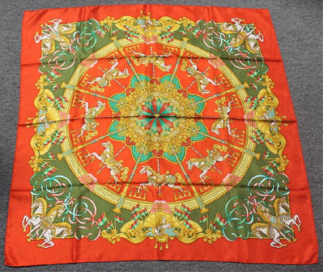 Grouping of (4) Hermes Silk Scarves. - 6