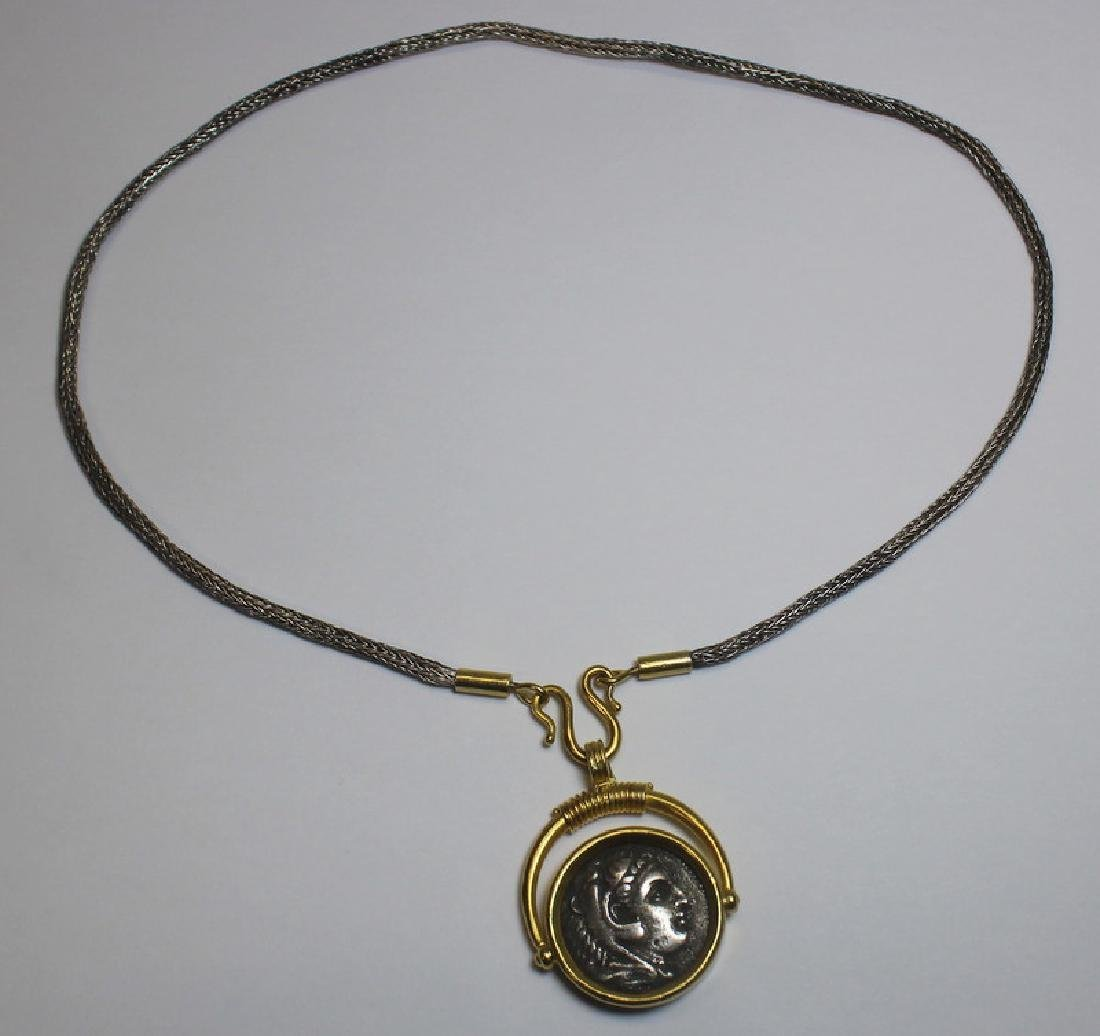 JEWELRY. 22kt Gold Mounted Greek Coin.