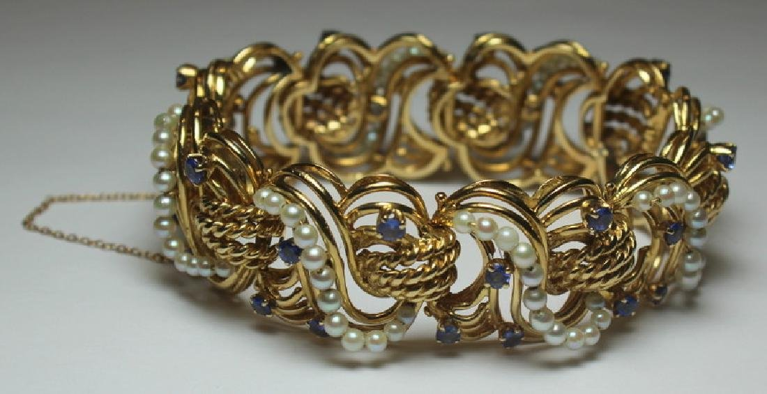 JEWELRY. 14kt Gold, Sapphire, and Pearl Bracelet.
