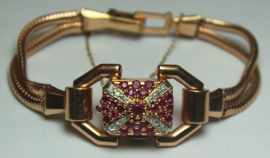JEWELRY. Retro/Vintage 14kt Gold, Ruby, & Diamond
