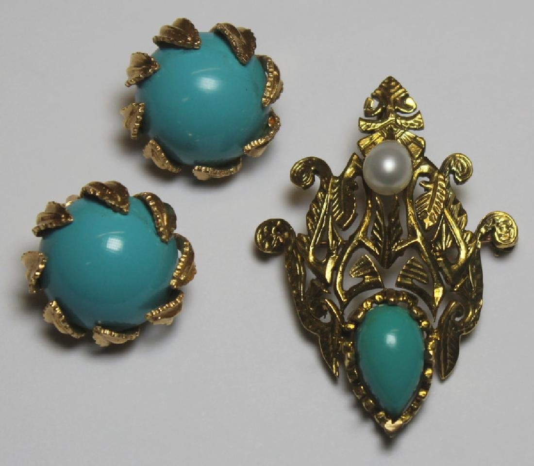 JEWELRY. 14kt Gold and Turquoise Jewelry Grouping.
