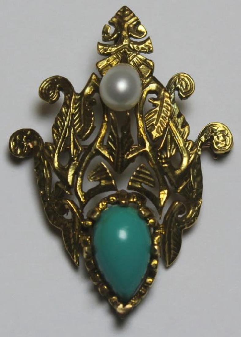 JEWELRY. 14kt Gold and Turquoise Jewelry Grouping. - 2