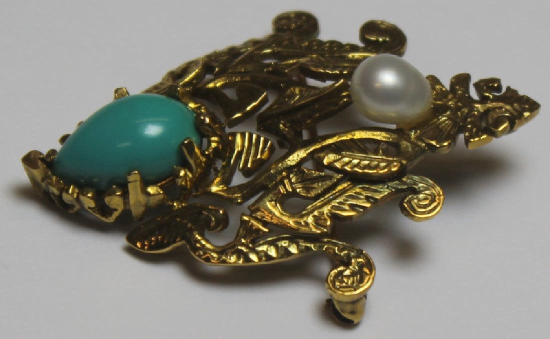 JEWELRY. 14kt Gold and Turquoise Jewelry Grouping. - 3