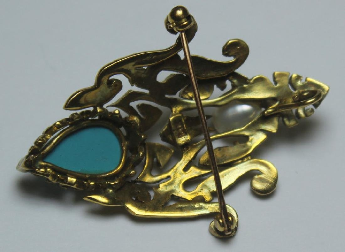 JEWELRY. 14kt Gold and Turquoise Jewelry Grouping. - 4