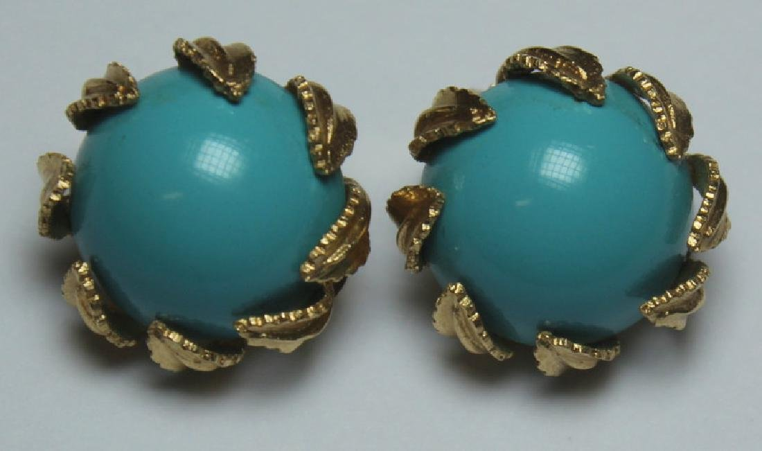 JEWELRY. 14kt Gold and Turquoise Jewelry Grouping. - 6