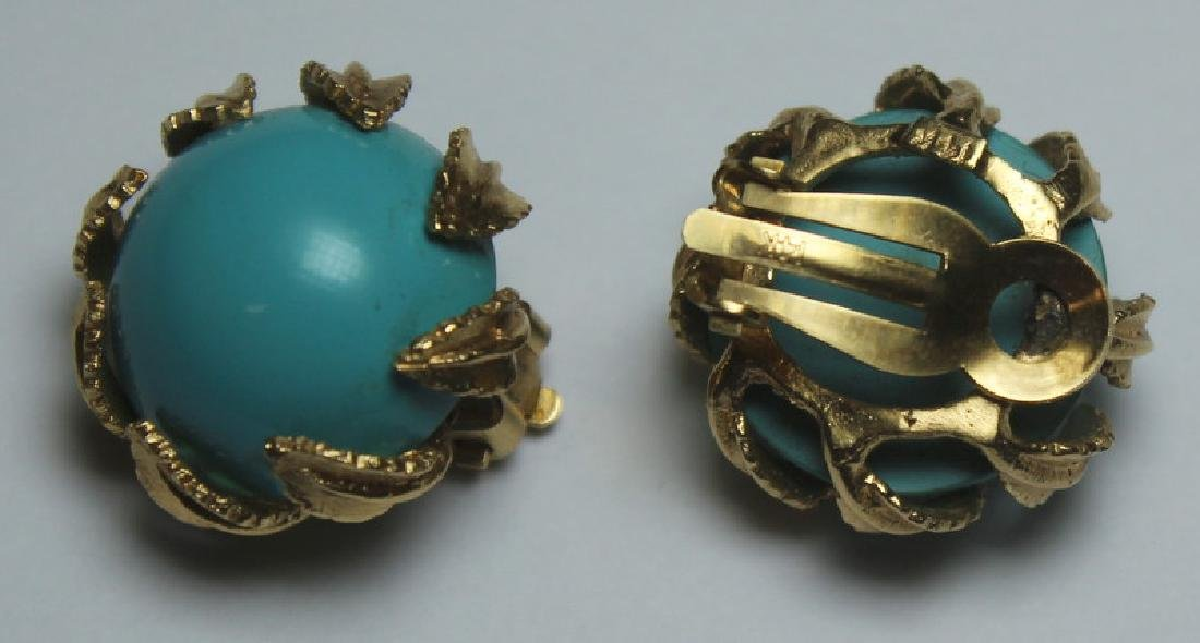 JEWELRY. 14kt Gold and Turquoise Jewelry Grouping. - 7