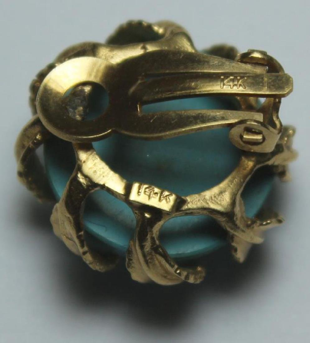 JEWELRY. 14kt Gold and Turquoise Jewelry Grouping. - 8
