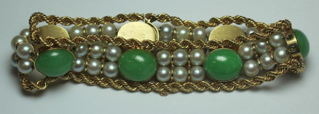 JEWELRY. 14kt Gold, Jade, and Pearl Bracelet.