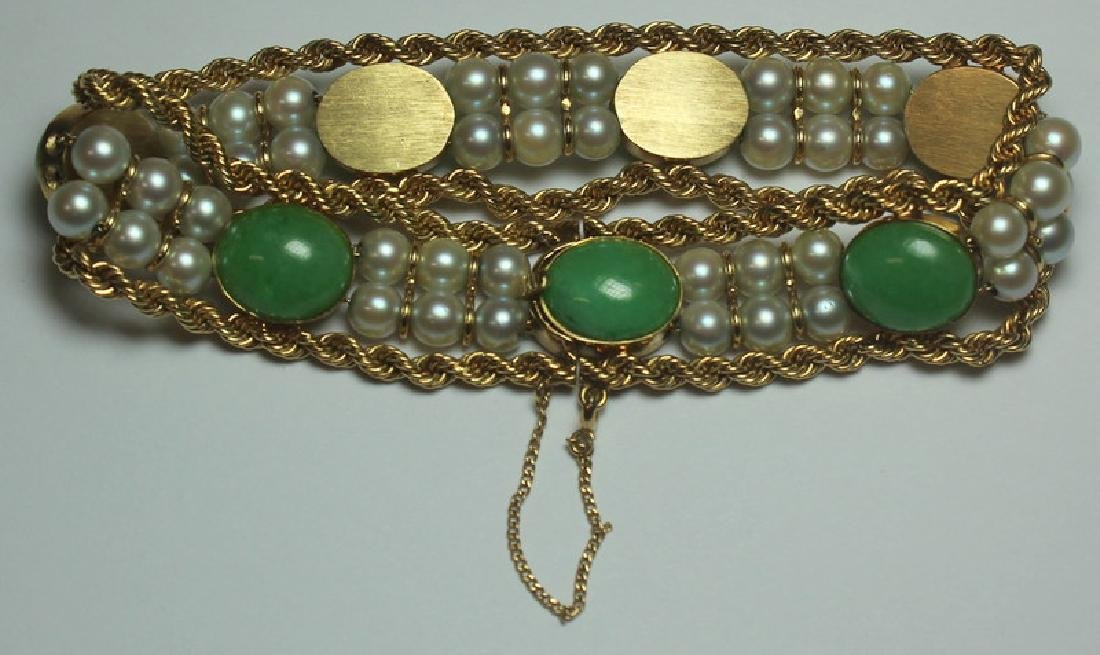 JEWELRY. 14kt Gold, Jade, and Pearl Bracelet. - 2