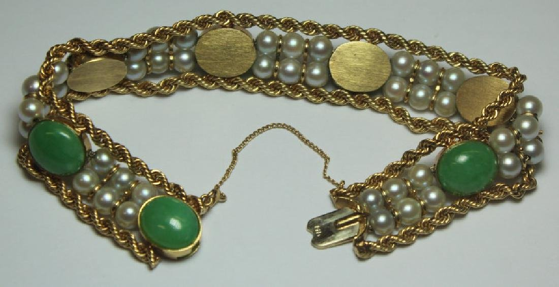 JEWELRY. 14kt Gold, Jade, and Pearl Bracelet. - 3
