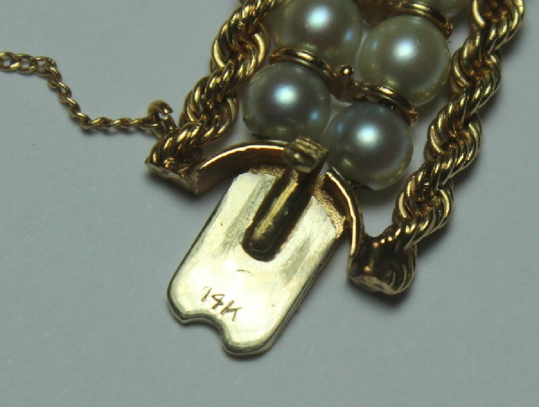 JEWELRY. 14kt Gold, Jade, and Pearl Bracelet. - 4