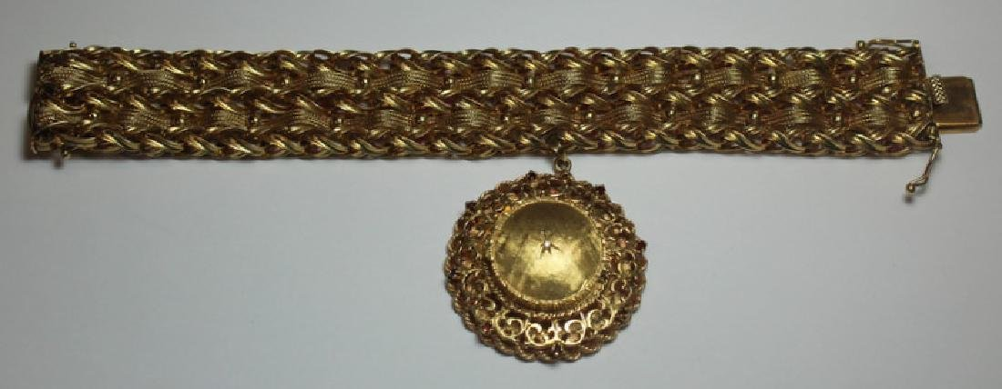 JEWELRY. Heavy 14kt Gold Woven Bracelet and Charm.