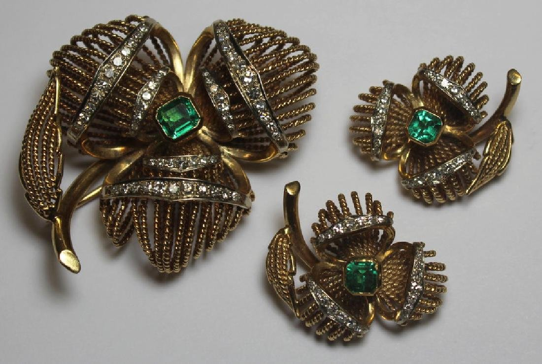 JEWELRY. 14kt Gold, Diamond, and Emerald Jewelry