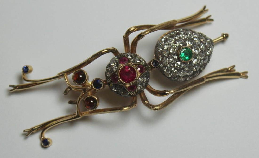 JEWELRY. Antique Jewelled Ant Form Gold Brooch.