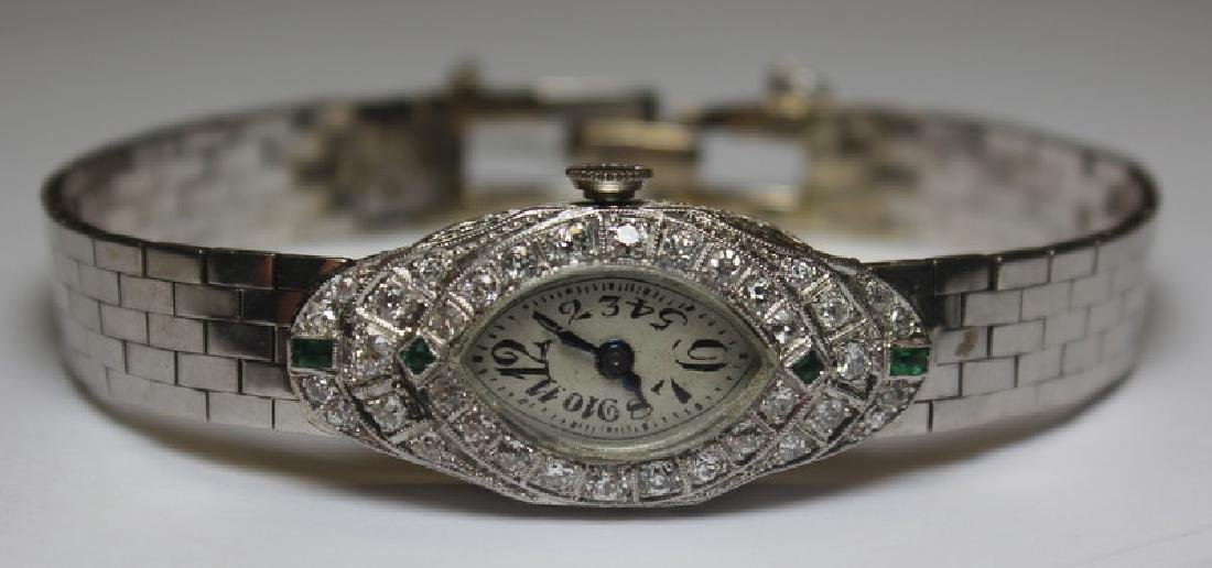 JEWELRY. Art Deco Platinum, Diamond and Emerald