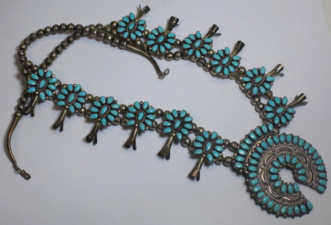JEWELRY. Native American Turquoise Squash Blossom