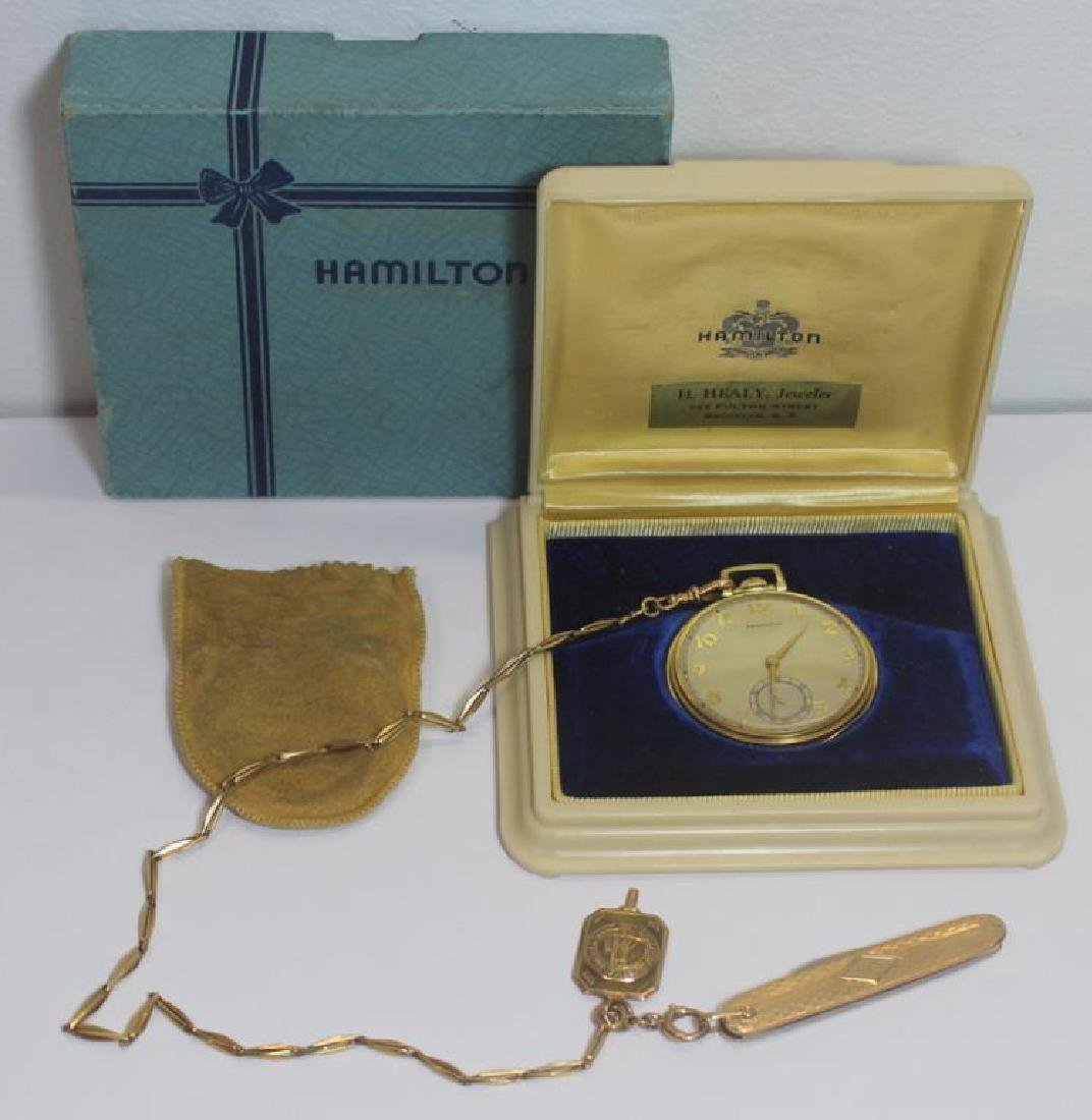 JEWELRY. Hamilton 14kt Gold Open Face Pocket Watch