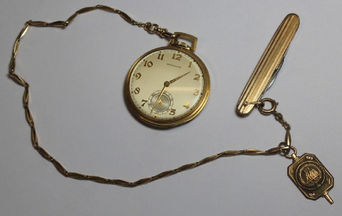 JEWELRY. Hamilton 14kt Gold Open Face Pocket Watch - 2
