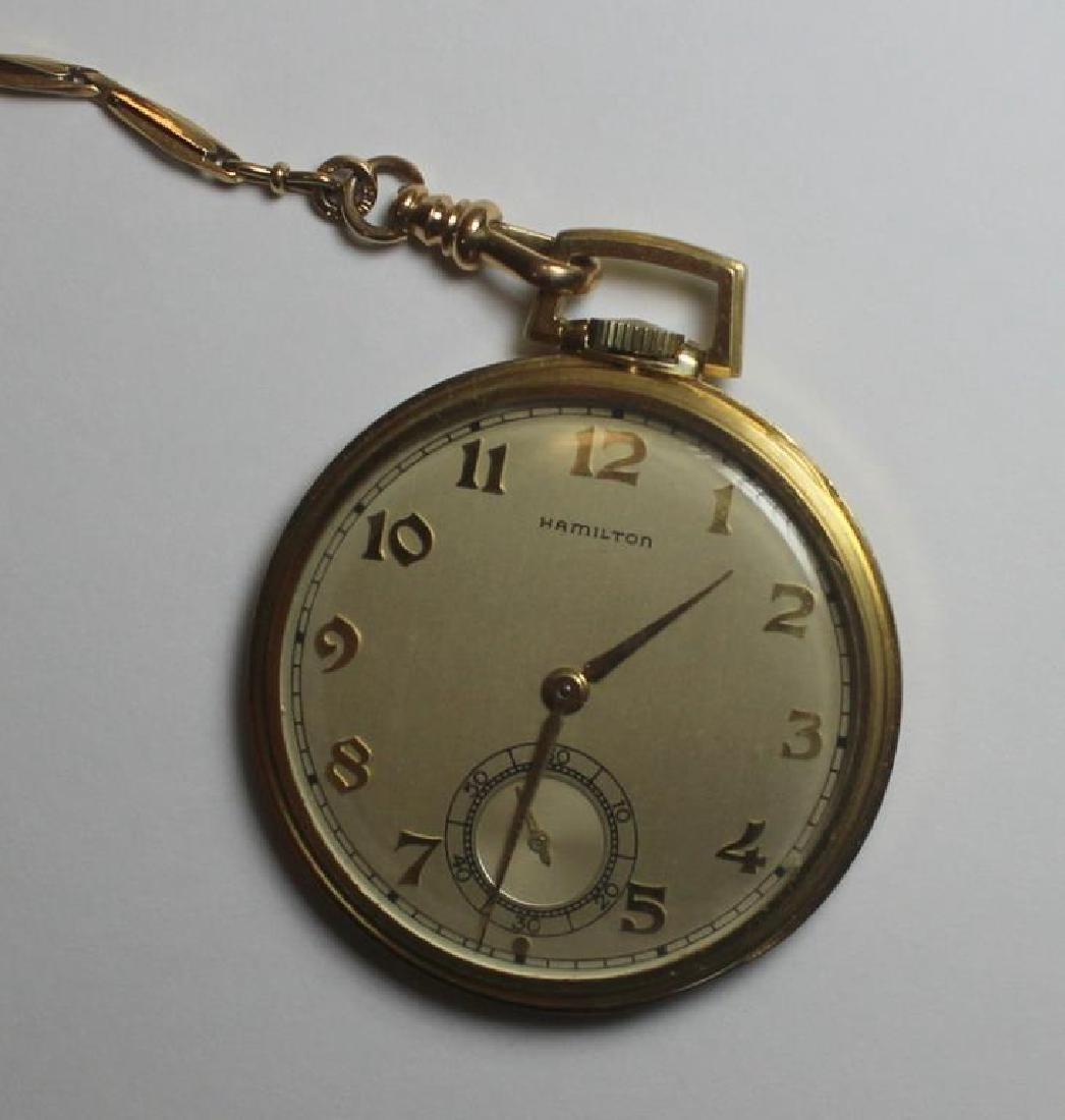 JEWELRY. Hamilton 14kt Gold Open Face Pocket Watch - 3