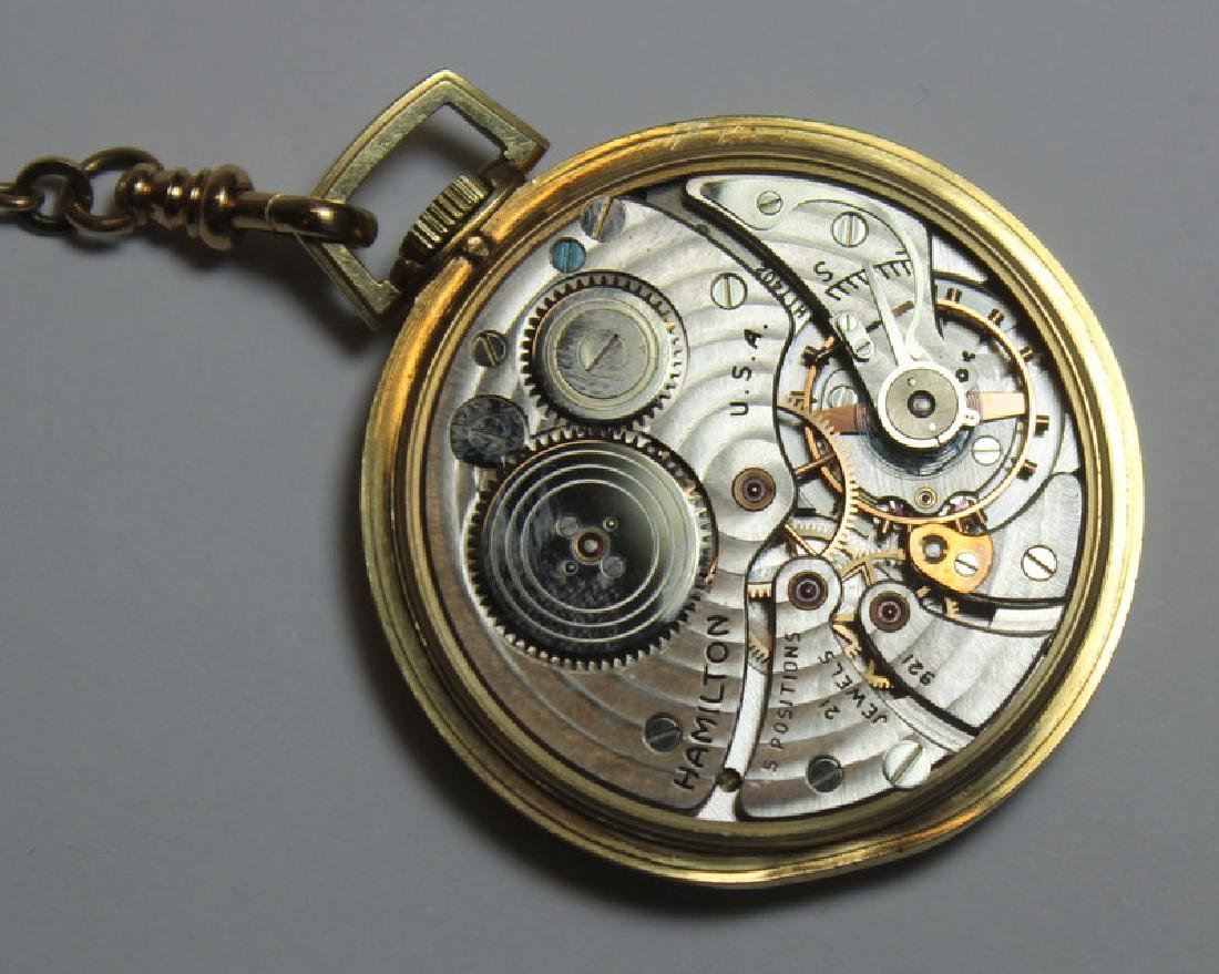 JEWELRY. Hamilton 14kt Gold Open Face Pocket Watch - 4