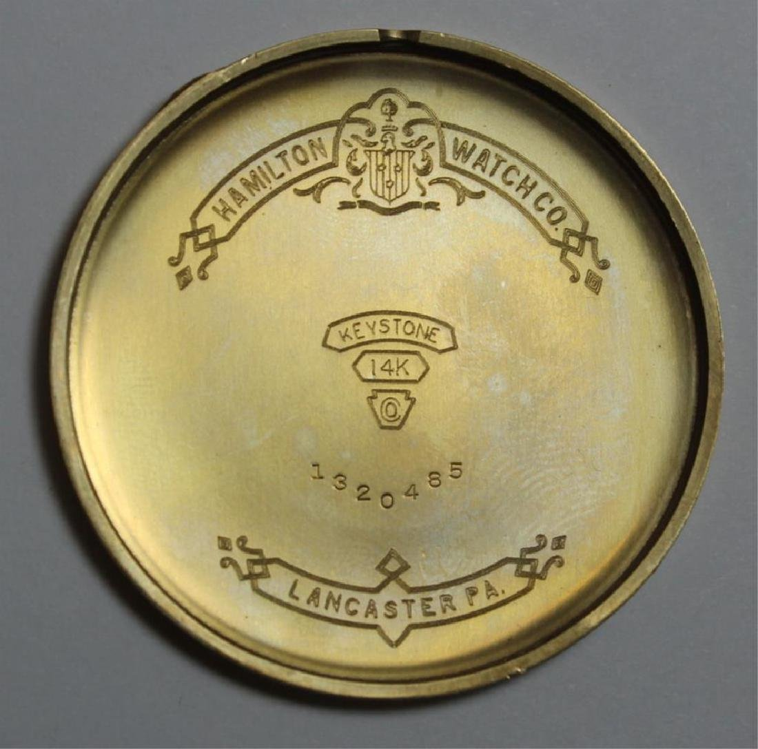 JEWELRY. Hamilton 14kt Gold Open Face Pocket Watch - 5