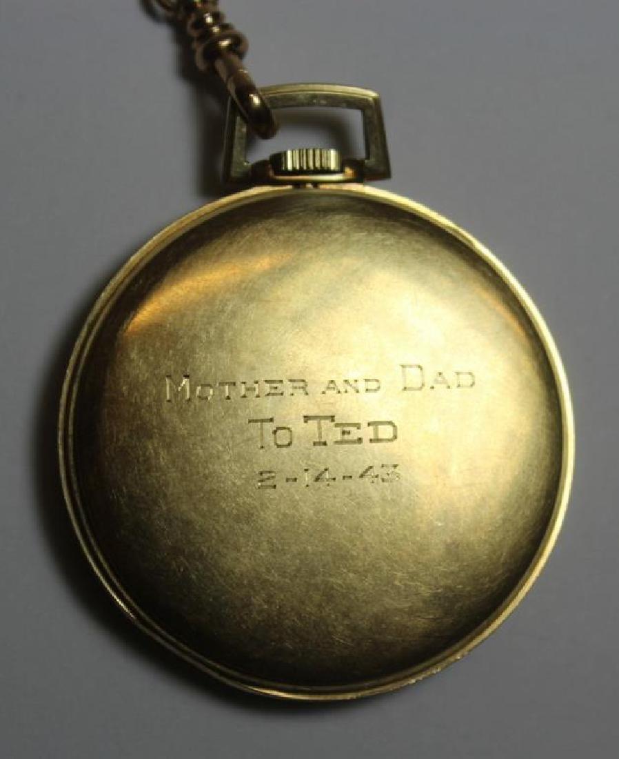 JEWELRY. Hamilton 14kt Gold Open Face Pocket Watch - 6