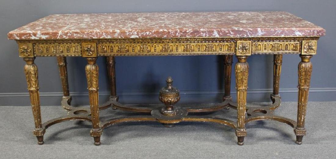 Large and Impressive Louis XVI Marbletop Console.