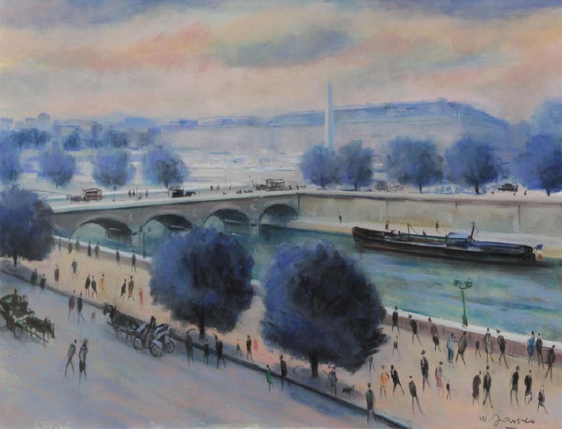 """JAMES, Willy. Pastel on Paper """"La Seine au Pont de"""