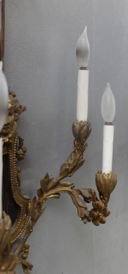 Pair Of Antique 4 Arm Gilt Bronze Lyre Form - 4