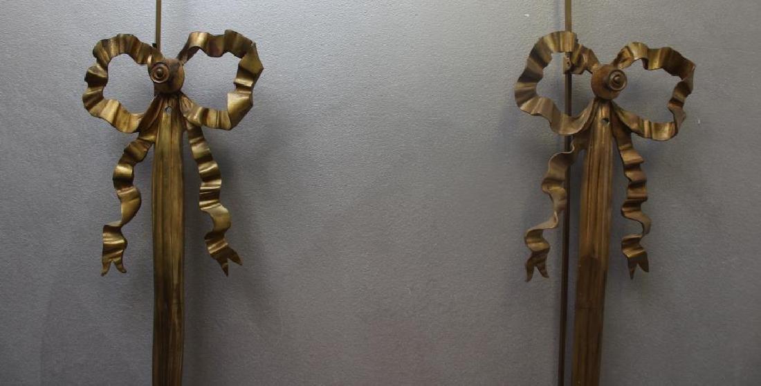 Pair Of Antique 4 Arm Gilt Bronze Lyre Form - 5