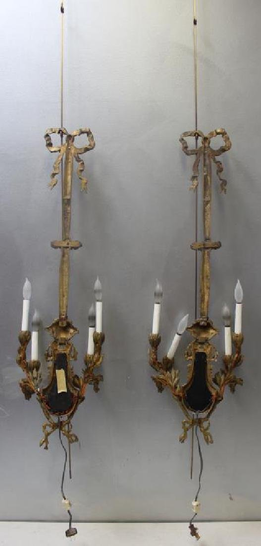 Pair Of Antique 4 Arm Gilt Bronze Lyre Form - 7