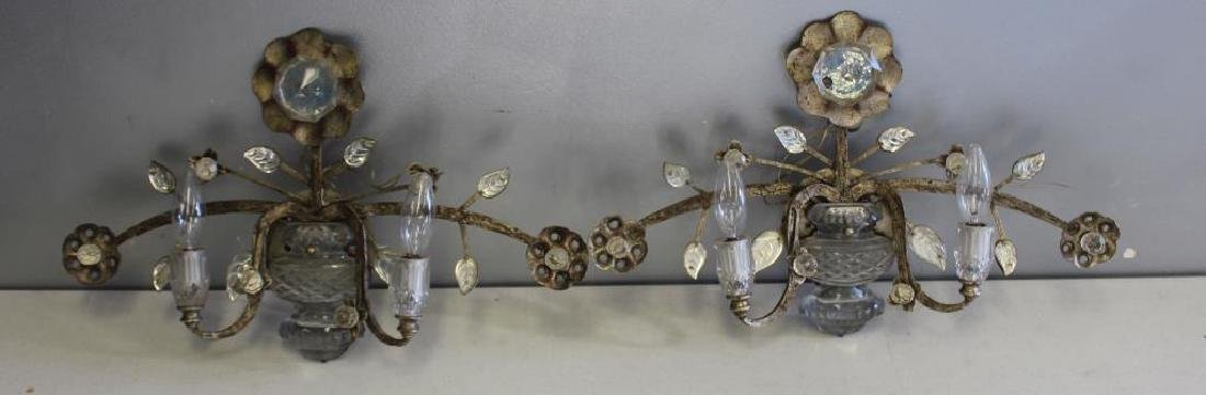 Pair of Antique Silvered Metal Floral and Urn