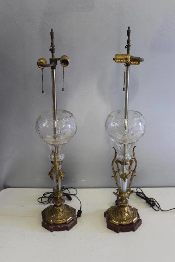 A  Pair Of Victorian Gilt Bronze and Cut Glass