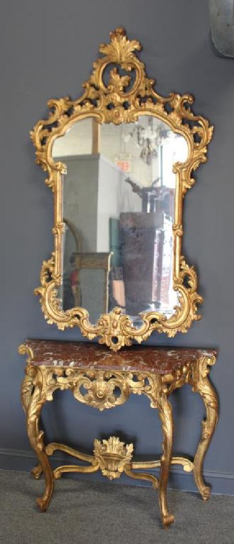 Antique Rococo Carved Giltwood and Marbletop.