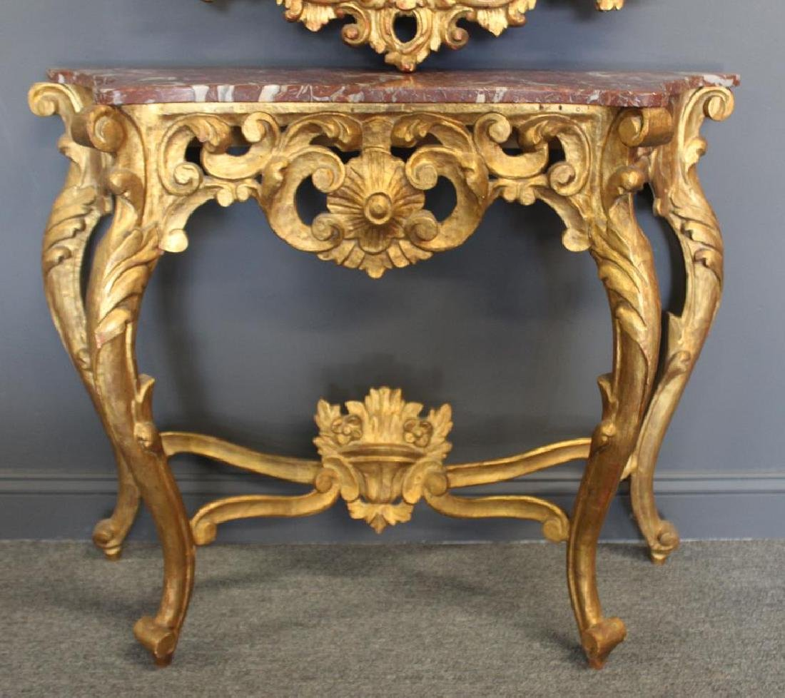 Antique Rococo Carved Giltwood and Marbletop. - 3