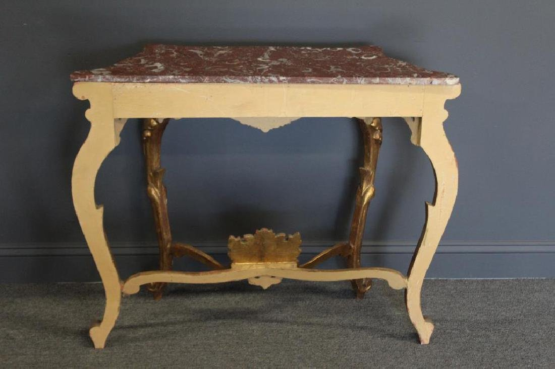 Antique Rococo Carved Giltwood and Marbletop. - 7