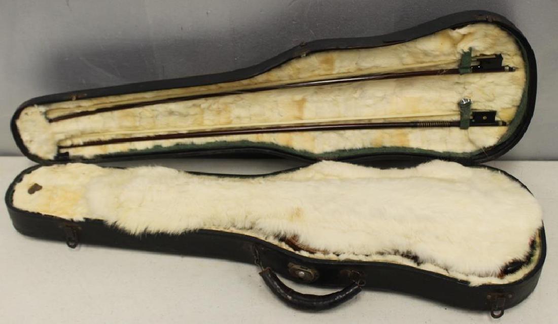 Antique Violin & Bows In Vintage Hardshell Case