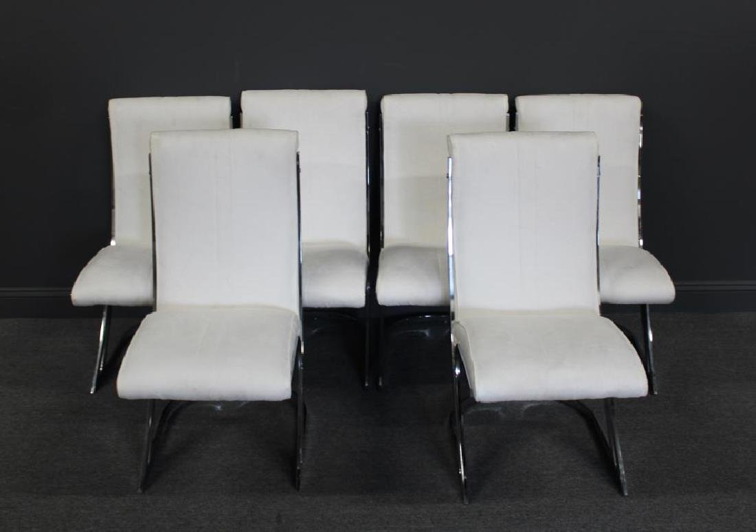 Set Of 6 Pace Chrome and Suede Upholstered