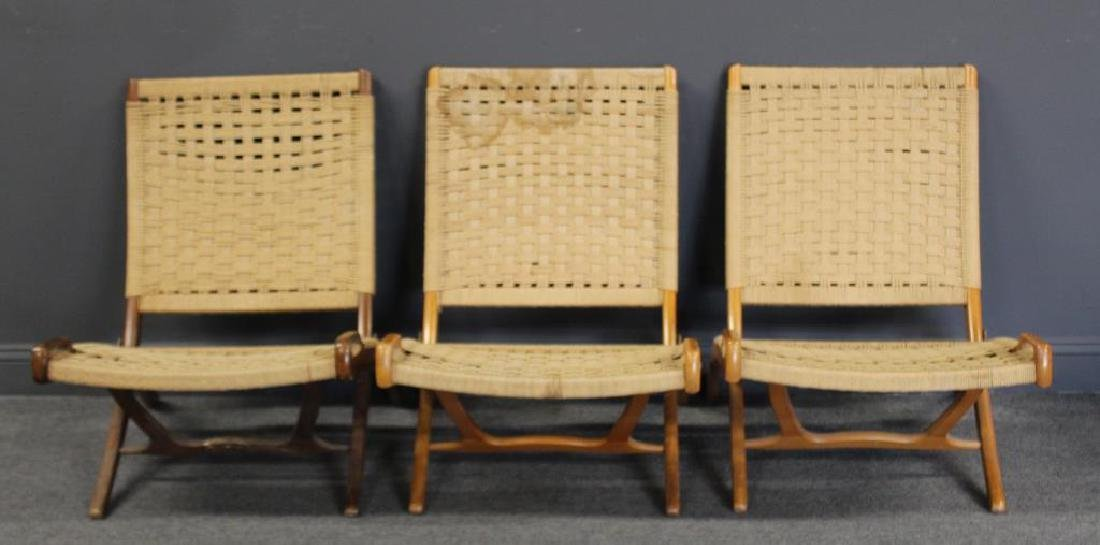 Lot Of 3 Hans Wegner Style Folding Chairs.