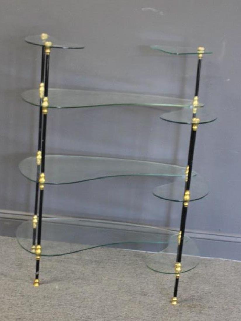 Signed Glass Etagere With Patinated and Gilt Metal
