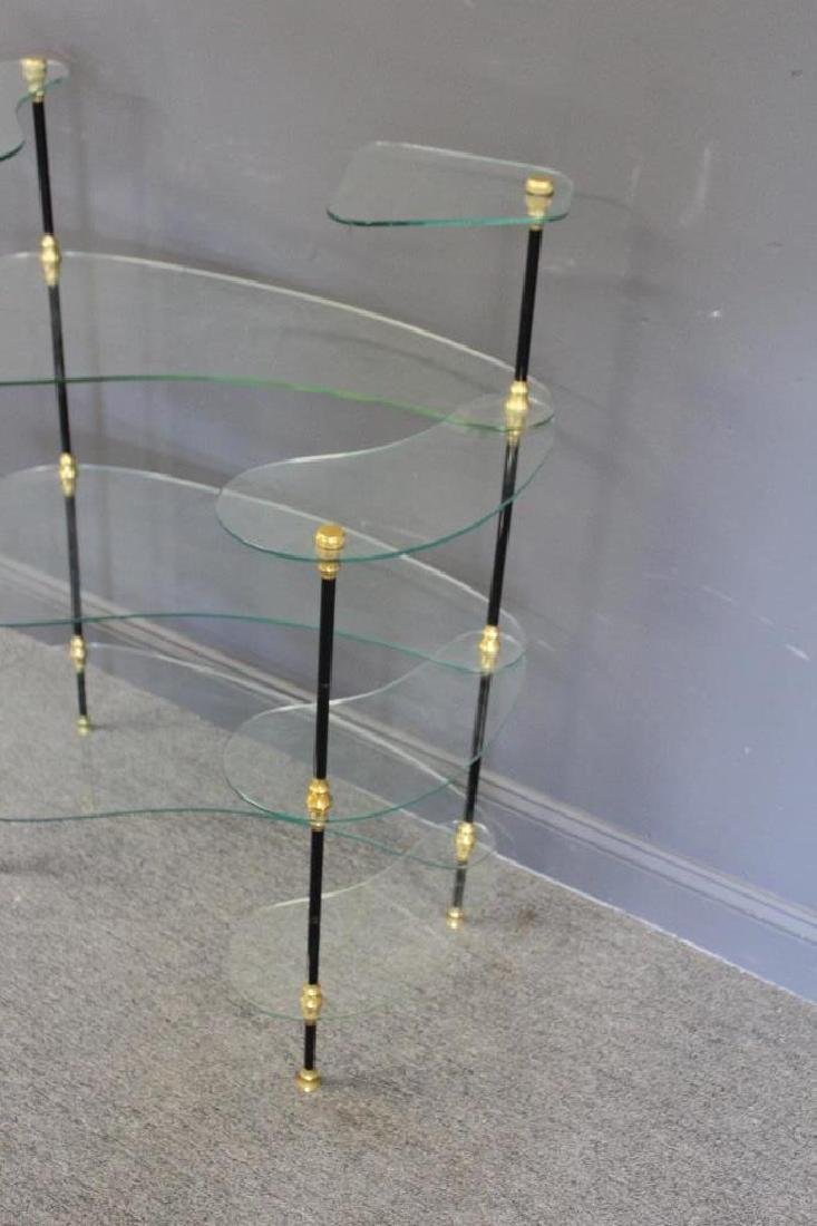 Signed Glass Etagere With Patinated and Gilt Metal - 2