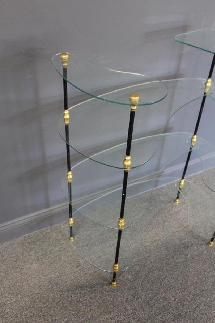 Signed Glass Etagere With Patinated and Gilt Metal - 3
