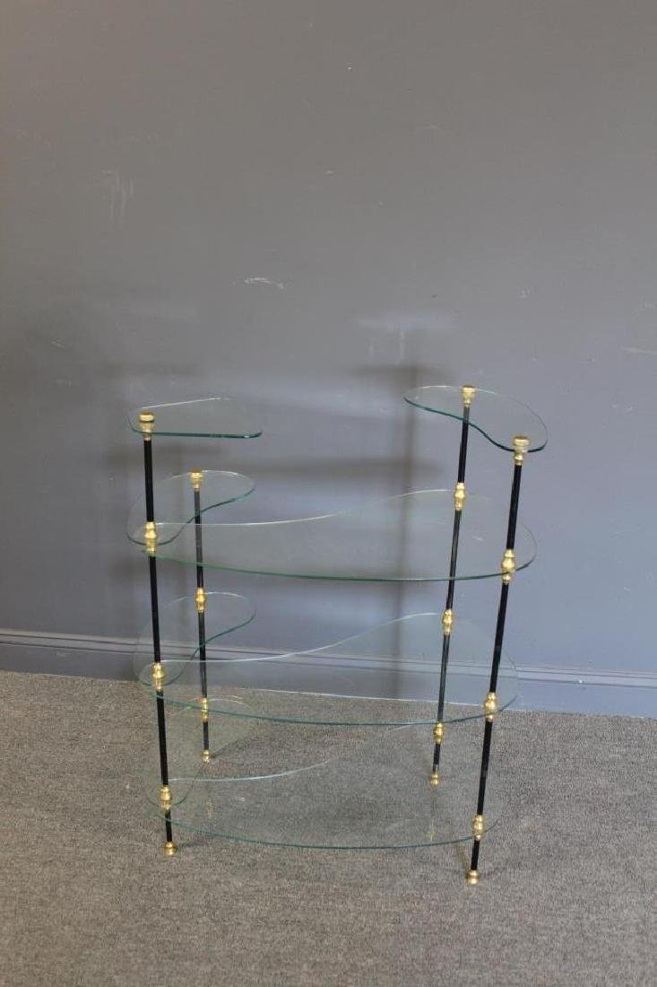Signed Glass Etagere With Patinated and Gilt Metal - 6