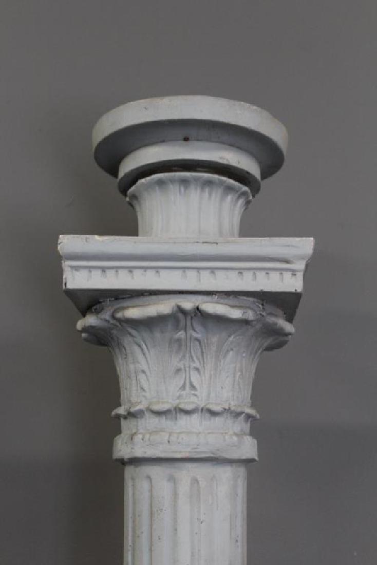 Antique Cast Metal Fluted Lamp Post. - 4
