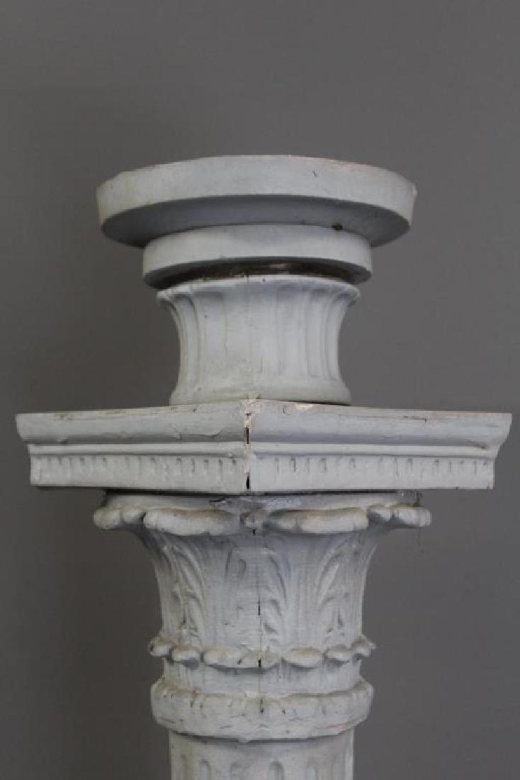 Antique Cast Metal Fluted Lamp Post. - 5